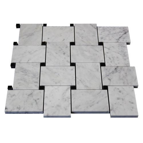 White Carrera Marble Bianco Carrara Basketweave Mosaic Tile with Nero Black Dots Honed