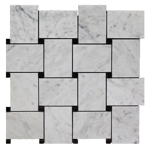 Italian White Carrera Marble Bianco Carrara Basketweave Mosaic Tile with Nero Marquina Black Dots Honed