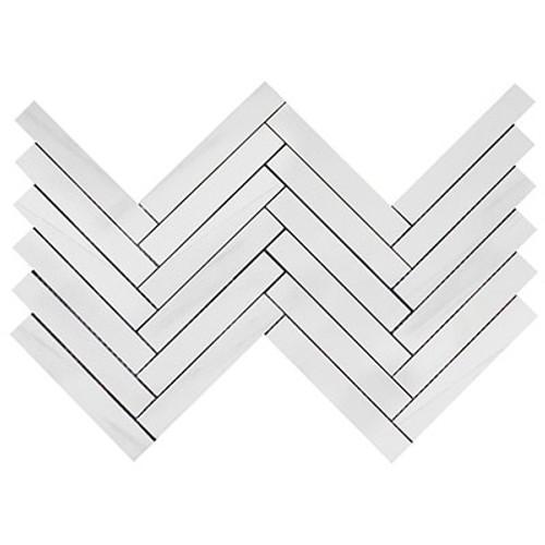 Dolomiti White Marble Italian Bianco Dolomite 1x6 Herringbone Mosaic Tile Polished