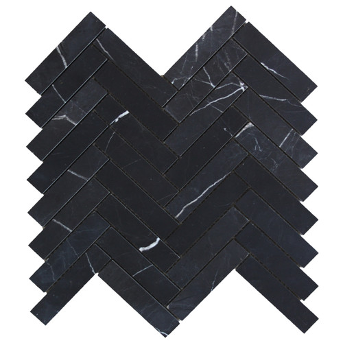 "Nero Marquina Black Marble 1"" x 4"" Herringbone Mosaic Tile Honed"