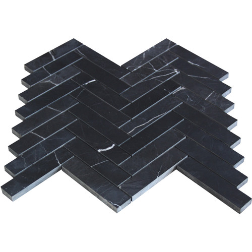 1x4 Nero Marquina Black Marble Herringbone Mosaic Tile Honed
