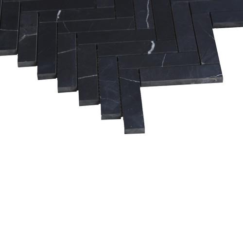 Nero Marquina Black Marble 1x4 Herringbone Mosaic Tile Polished