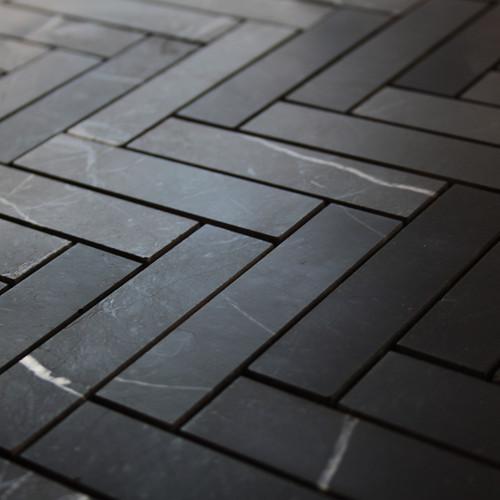 """Nero Marquina 1"""" x 4"""" Black Marble Herringbone Mosaic Tile Polished"""