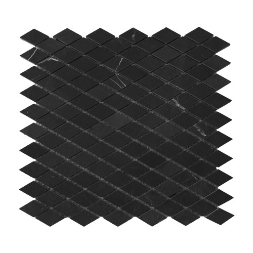 Nero Marquina Black Marble Diamond Mosaic Tile Honed
