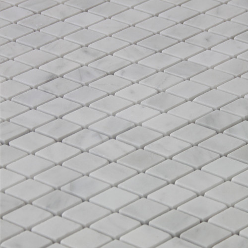 Italian White Carrera Marble Bianco Carrara Diamond Mosaic Tile Honed
