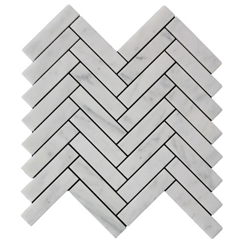 "Carrara White Italian Marble 1"" x 4"" Herringbone Mosaic Tile Honed"