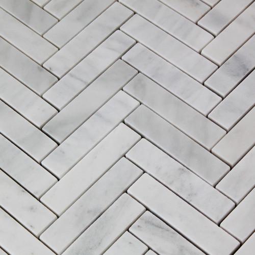 "Carrara White Italian Marble 1"" x 4"" Herringbone Mosaic Tile Honed"