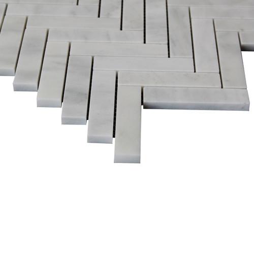 """1"""" x 4"""" Carrara White Italian Marble Herringbone Mosaic Tile Polished"""