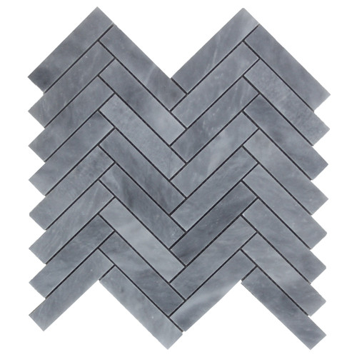 "Bardiglio Gray Marble 1"" x 4"" Herringbone Mosaic Tile Polished"