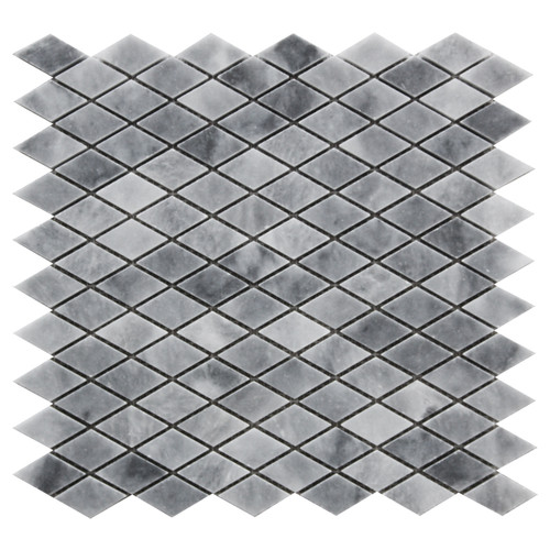 Bardiglio Gray Marble Diamond Mosaic Tile Honed