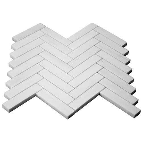 Bianco Dolomite Marble 1x4 Herringbone Mosaic Tile Polished