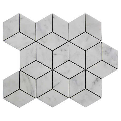 Italian White Carrera Marble Bianco Carrara Rhombus 3D Diamond Mosaic Tile Honed