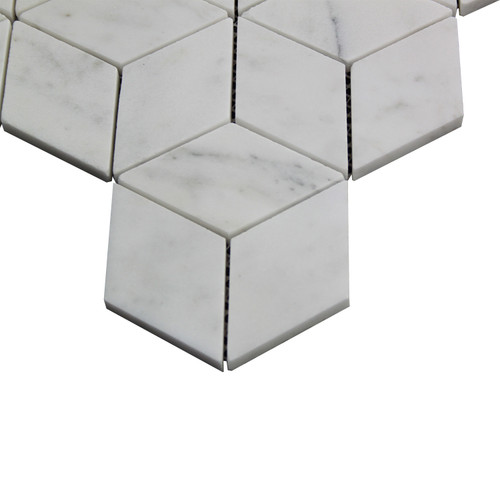 Italian White Carrera Marble Bianco Carrara Rhombus 3D Diamond Mosaic Tile Polished
