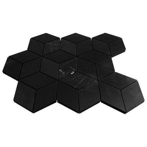 Nero Marquina Black Marble Rhombus 3D Cube Diamond Mosaic Tile Polished