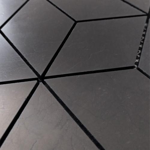 Nero Marquina Black Marble Rhombus 3D Cube Diamond Mosaic Tile Honed