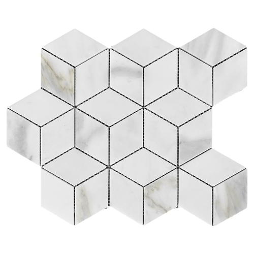 Calacatta Gold Italian Marble Rhombus 3D Cube Diamond Mosaic Tile Polished
