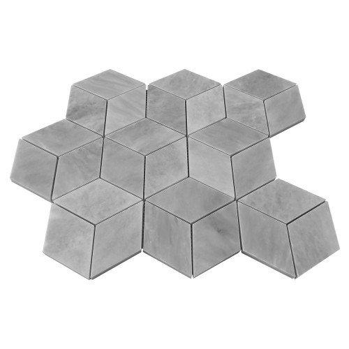 Bardiglio Gray Marble Rhombus 3D Cube Diamond Mosaic Tile Polished