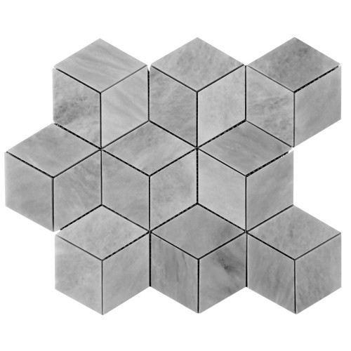 Bardiglio Gray Marble Rhombus 3D Cube Diamond Mosaic Tile Honed