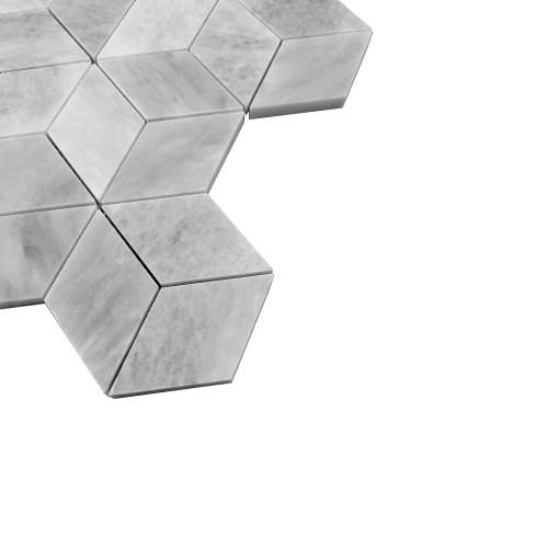 Bardiglio Gray Marble Rhombus 3D Cube Diamond Mosaic Tile Honed