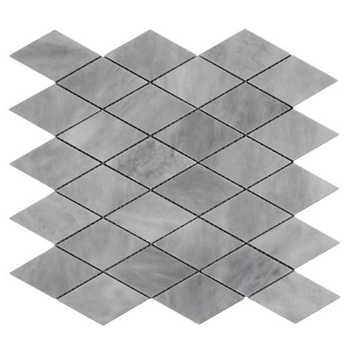 Bardiglio Gray Marble Large Diamond Mosaic Tile Honed