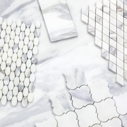 Calacatta Gold Italian Marble Ellipse Oval Mosaic Tile Polished