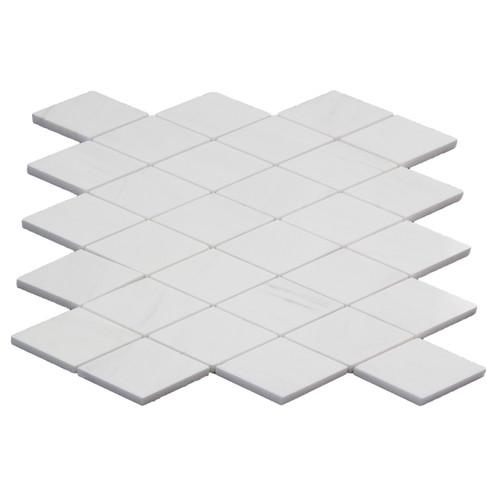 Bianco Dolomite Marble Large Diamond Mosaic Tile Honed