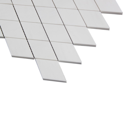 Bianco Dolomite Marble Large Diamond Mosaic Tile Honed