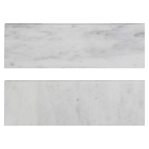 "Carrara White Italian Marble 4"" x 12"" Bullnose Tile Honed"