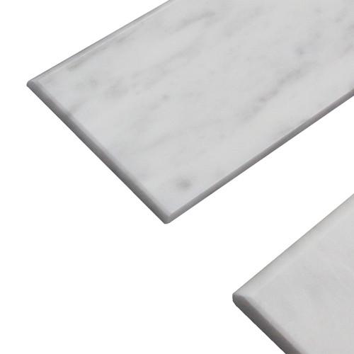 """Carrara White Italian Marble 4"""" x 12"""" Bullnose Tile Honed"""