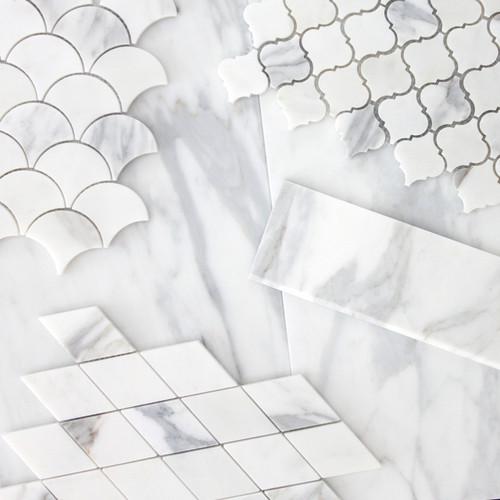 Calacatta Gold Italian Marble Large Diamond Mosaic Tile Polished