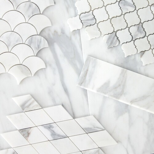 Calacatta Gold Italian Marble Large Diamond Mosaic Tile Honed