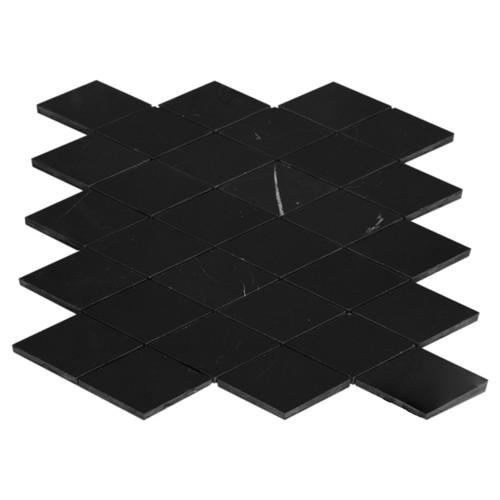 Nero Marquina Black Marble Large Diamond Mosaic Tile Polished