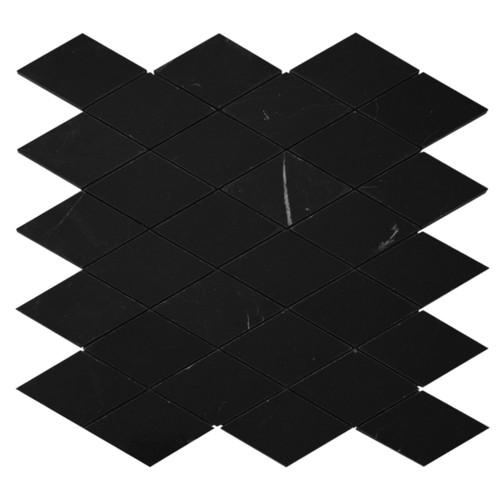 Nero Marquina Black Marble Large Diamond Mosaic Tile Honed