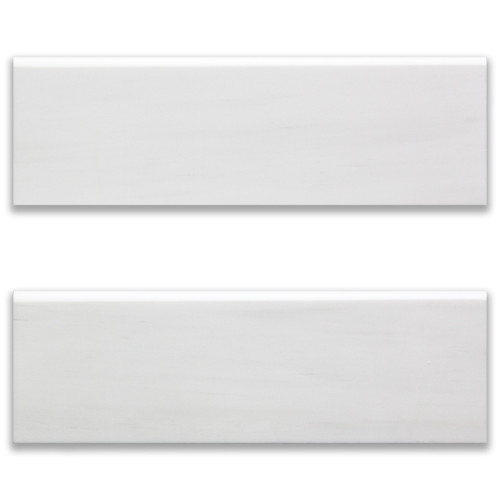 4x12 Bianco Dolomite Marble Bulnose Trim Tile Honed