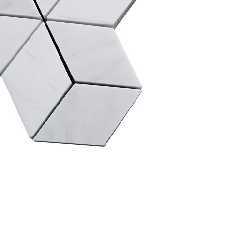 Bianco Dolomite Marble Rhombus 3D Cube Diamond Mosaic Tile Polished
