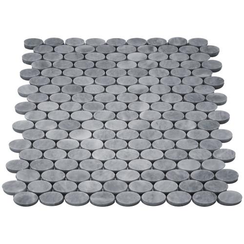 Bardiglio Gray Marble Oval Ellipse Mosaic Tile Polished