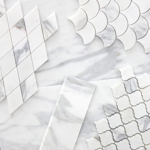 Calacatta Gold Italian Marble Fish Scale Fan Shaped Sea Shell Mosaic Tile Polished