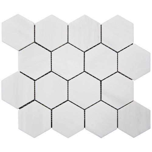 """Bianco Dolomite Marble 3"""" Hexagon Mosaic Tile Polished"""