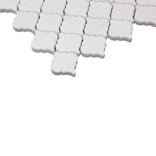 Bianco Dolomite Marble Mini Arabesque Baroque Lantern Mosaic Tile Honed