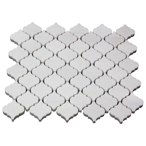 Bianco Dolomite Marble Mini Arabesque Baroque Lantern Mosaic Tile Honed