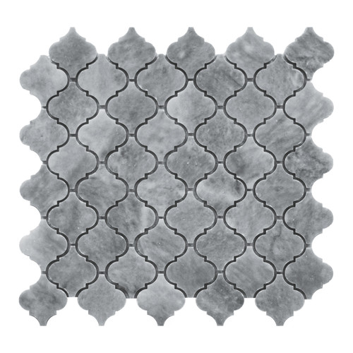 Bardiglio Gray Marble Mini Arabesque Baroque Lantern Mosaic Tile Polished
