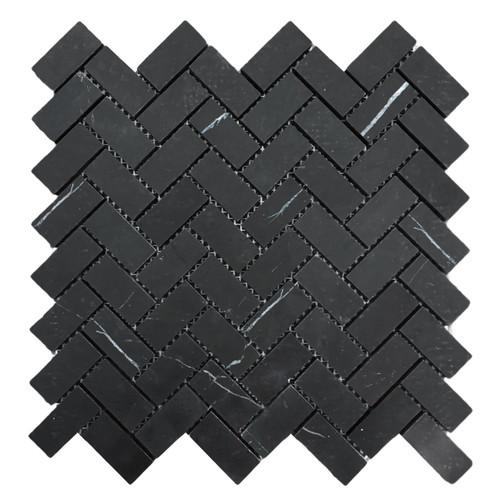 """Nero Marquina Black Marble 1"""" x 2"""" Herringbone Mosaic Tile Polished"""