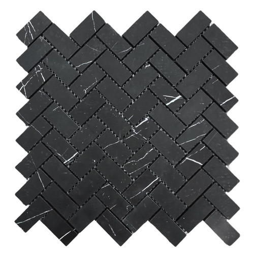 "Nero Marquina Black Marble 1"" x 2"" Herringbone Mosaic Tile Honed"