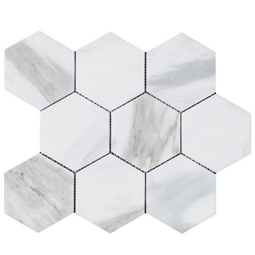 "Calacatta Gold Italian Marble 4"" Hexagon Mosaic Tile Polished"