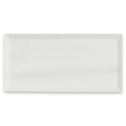 Bianco Dolomite 3x6 Marble Wide Bevel Subway Tile Honed