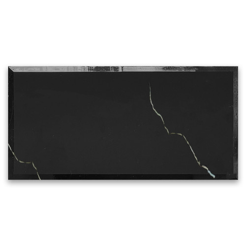 6x12 Nero Marquina Black Marble Wide Beveled Tile Polished