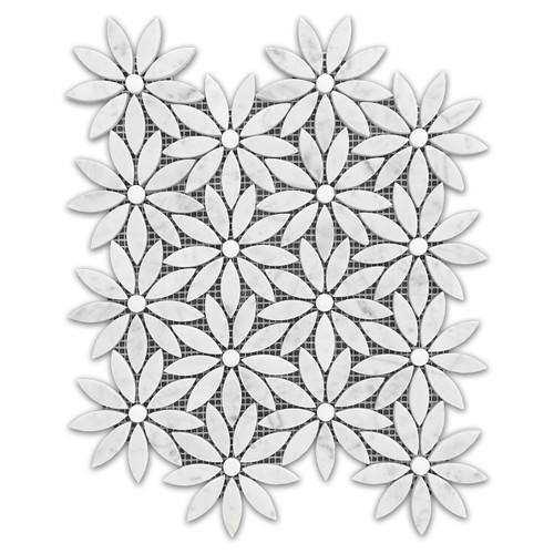 Carrara White With Bianco Dolomite Rounds Daisy Flower Waterjet Mosaic Tile Honed
