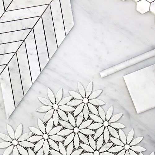 Polished Carrara White With Bianco Dolomite Rounds Daisy Flower Waterjet Mosaic Tile