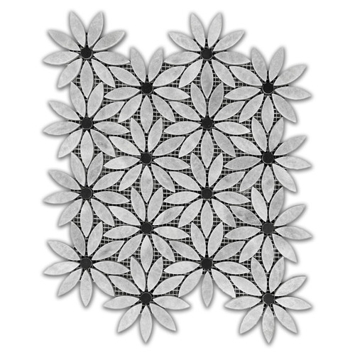 Bardiglio Gray With Nero Marquina Black Center Accent Daisy Flower Waterjet Mosaic Tile Honed