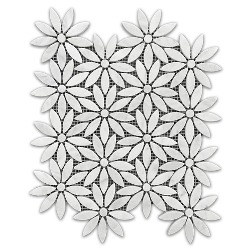 Carrara White Marble With Carrara White Center Accent Daisy Flower Waterjet Mosaic Tile Honed